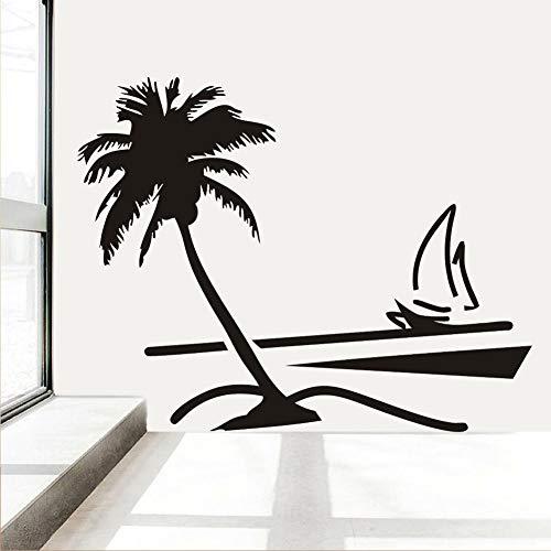 Kokospalme Wandtattoos Vinyl Hawaii Stil Wandaufkleber Segelboot Wohnzimmer Wohnkultur Wasserdichte Tapete Aufkleber Z 89x78 cm -