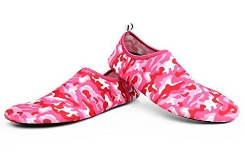 SMITHROAD Unisex Aquaschuhe Strandschuhe Surfschuhe Schnelltrockene Rutschfeste Schwimmschuhe für Damen Herren Kinder Rot