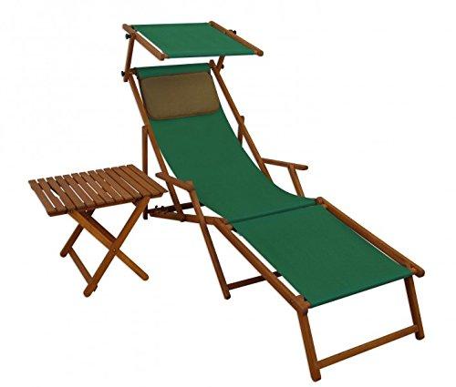 Erst-Holz Sonnenliege grün Liegestuhl Fußteil Sonnendach Tisch Kissen Gartenliege Deckchair...