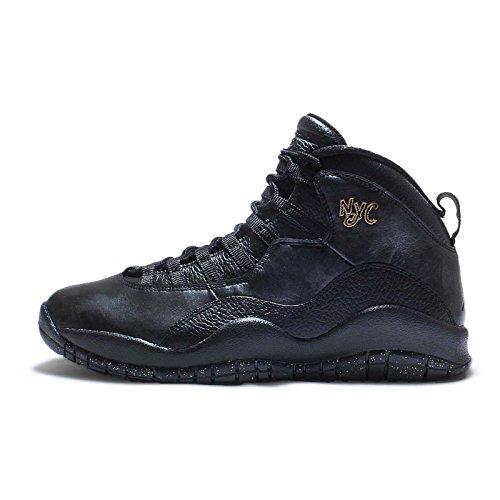 Nike Herren Air Jordan Retro 10 Basketballschuhe Black Schwarz-Drk Grau-Mtllc GLD, 40.5 EU (Schwarz Jordans Und Grau Air)