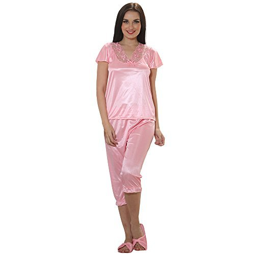 Mia Womens Capri (Clovia Women 4 Pcs Satin Nightwear in Baby Pink - Robe, Nightie, Top, Capri)