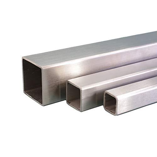 V2A Edelstahl Rohr quadrat/vierkant Oberfläche geschliffen, Korn 240 Länge 500 mm Abmessungen 30 x 30 x 2 mm