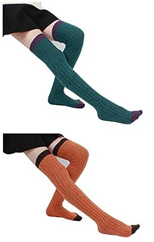 Santwo - Chaussettes montantes - Femme taille unique - vert - Taille Unique