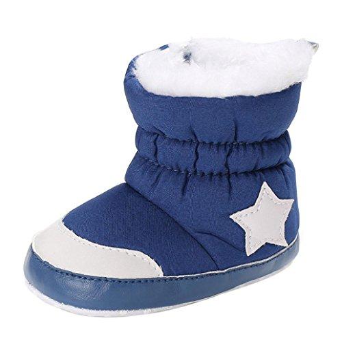 Häkeln Booties Newborn (KanLin Toddlers Soft Booties Snow Boots Newborn Baby Girl Boots, Blau, 0-6 monat)