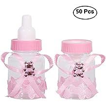 50 Piezas Botella de Caramelo, Caja Biberones Plastico Botellas Caja de Caramelo Set Botella Dulces