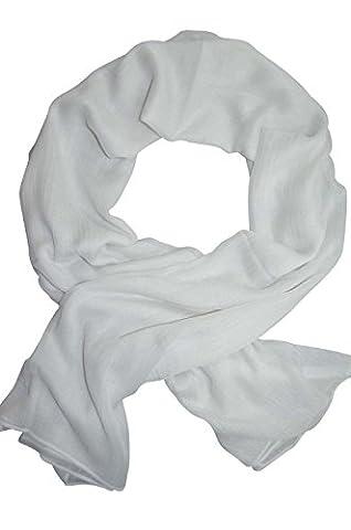 Femme - Foulard - Douce - étole - pashmina - écharpe - cache-col Couleurs au choix (Blanc)