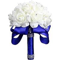 StillCool Royal-azul Cristal de seda de pétalo de seda rosas ramo nupcial de la boda de la dama de honor (18cm * 24cm, azul real) (Royal-Blue)
