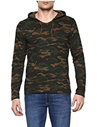 Urbano Fashion Men's Green Camouflage Hooded Full Sleeve T-Shirt