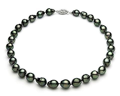 8–11mm Baroque Noir–Collier Femme–Perle de culture de Tahiti de qualité AA + 14K Or Blanc