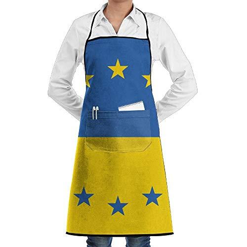 Kostüm Ukraine - dfgjfgjdfj Ukraine EU Flag Schürze Lace Adult Mens Womens Chef Adjustable Polyester Long Full Black Cooking Kitchen Schürzes Bib with Pockets for Restaurant Baking Crafting Gardening BBQ Grill