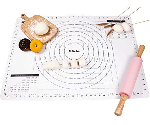 webake 70x50cm Silikonmatte Silikon Backmatte Silikonbackmatten Backunterlage Antihaftbeschichtet Teigmatte Rollmatte Backmatten für Teigrollen Arbeitsmatte -Transparent