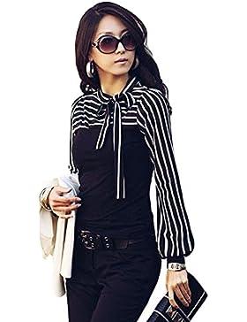 Romacci Damen Slim T-Shirt Puff Langarm Rollkragen Stripe Pullover weiss