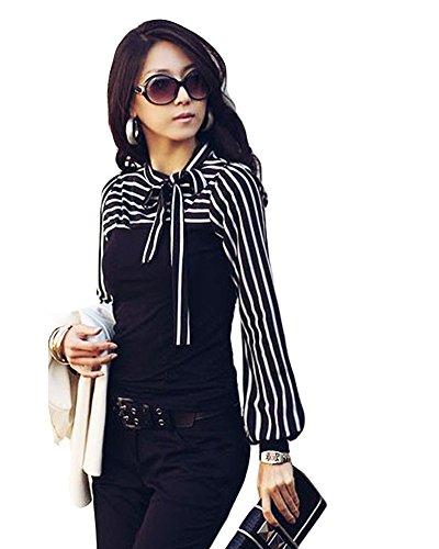 Romacci Damen Slim T-Shirt Puff Langarm Rollkragen Stripe Pullover Weiss (Kleidung Rollkragen-weiß)