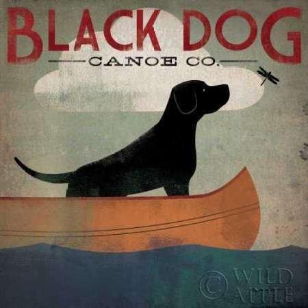 Feelingathome- imprimer-sur-toile-100%coton-Black-Dog-Canoe-cm57x57-affiche-reproduction-gravure-