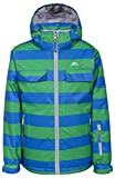Trespass Motley, Blue, 9/10, Wasserdichte Skijacke mit abnehmbarer Kapuze, Schneefang & Skipasstasche für Kinder / Unisex / Mädchen und Jungen, 9-10 Jahre, Blau