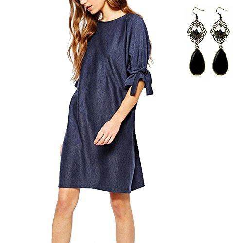 M-Queen Femme Boyfriend Style T Shirt Manches Court En Vrac Casual Chemise Mini Robe Tee-shirt Long Tops Bleu