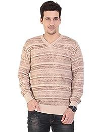 TAB91 Men's Cotton Rich Beige V Neck Pullover