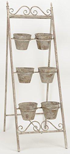 Posiwio dekorative Kräutertreppe Pflanz-Treppe Blumen-Treppe Kräuterwand mit 6 Tontöpfen Metall antik graubraun