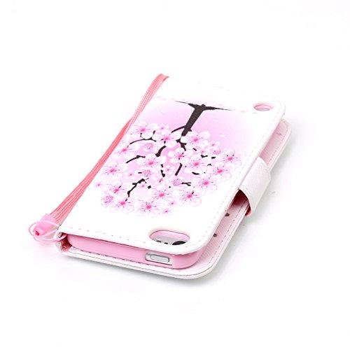 Custodia iPod Touch 5/6,SainCat Custodia in pelle Protettiva Flip Cover per iPod touch 5/6,Anti-Scratch Protettiva Caso Elegante Creativa Dipinto Pattern Design PU Leather Flip Ultra Slim Sottile Morb pesca bianca
