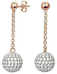 Esprit Damen-Ohrhänger 925 Sterling Silber rhodiniert Glas Zirkonia Glam Sphere Rose weiß S.ESER92611B000