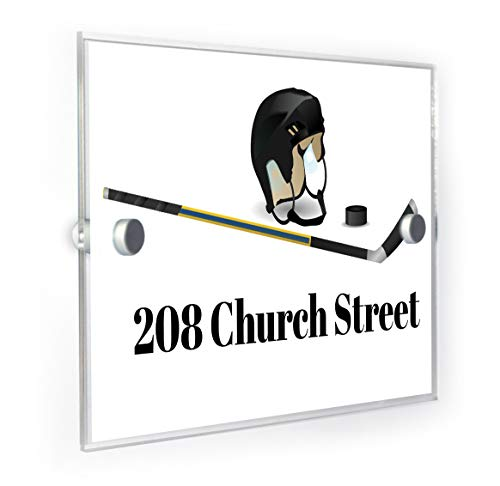 Premium Home Plaques Hausnummernschild für Sport/Eishockey, modernes Design, personalisierbar