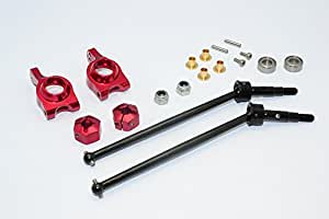 Team Losi Mini 8ight-T Truggy Upgrade Pièces Steel #45 Front/Rear CVD Drive Shaft with Rear Knuckle & 12x8mm Hex & 5x10 Bearings - 1 Set Red