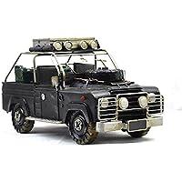 VJUKUB Antigüedad Antiguo ejército británico Land Rover Modelo de hojalata Hecho a Mano Arte Retro de Hierro casa decoración decoración de Coches Decorativos apoyos de fotografía 32 * 15 * 17cm