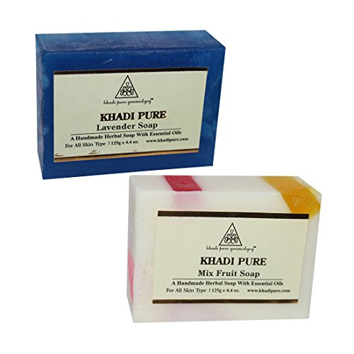 Khadi Pure Lavender and Mix Fruit Soap Combo (250g) Pack 2  available at amazon for Rs.126