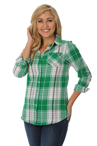 UG Apparel NCAA Damen Plus Größe Boyfriend Plaid Shirt, Damen, Kelly Green/Black/White Marshall University
