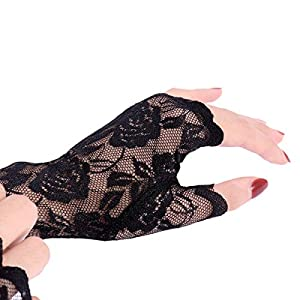 BESTOYARD 1 par de Mujeres Guantes sin Dedos de Encaje Medio Dedo Guantes de Novia Protección UV Guantes sin Dedos Guantes a Prueba de Sol (Negro)