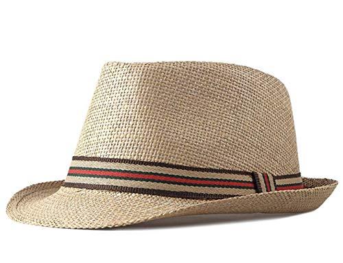 CHENNUO Strohhut Panamahüte Herren Damen Fedora Sommerhut Wide Rand Strandhut Sonnenhut (Khaki)