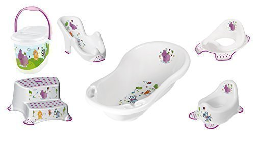 Baby Bath Set, 6 Piece Z Hippo White XXL Bathtub + Bath Seat + Potty + Toilet Seat + Stool, 2 Steps + Nappy Bucket
