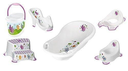 Baby Bath Set, 6 Piece Z Hippo White XXL Bathtub + Bath Seat + Potty + Toilet Seat + Stool, 2 Steps + Nappy Bucket 1