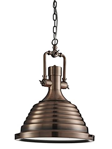 Lighting Collection 700196 E27 60 W Large Spun Pendant Light, Antique Copper
