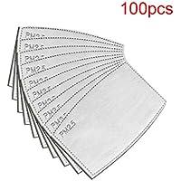10 papel de filtro de carbón activado reemplazable, con 5 capas precisas, filtro de papel, Cartuchos y filtros para respiradores,filtro protector bucal para exteriores,4.72''x3.15'' (100 Piezas)