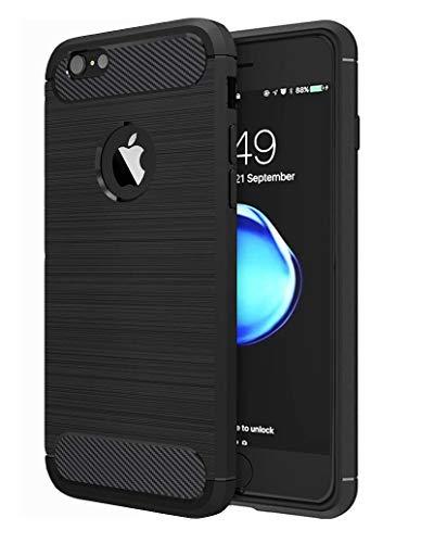 HUSHCO Funda iPhone 7 iPhone 8 Carcasa [Textura Fibra de Carbono] Ligera Silicona Suave TPU Gel Bumper Case Cover de Protección Antideslizante [Anti-Rasguño] [Anti-Golpes] Caso - Negro