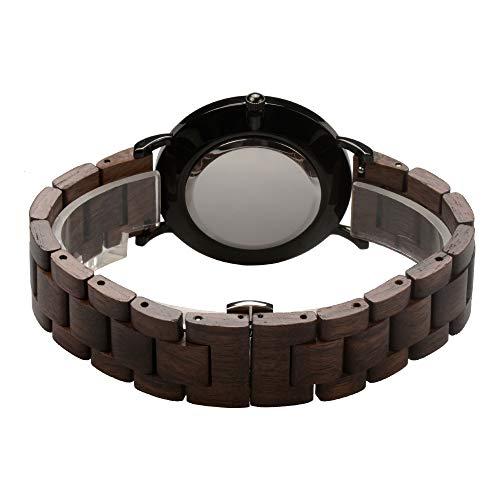 Holzuhr Herren Damen Unisex Holz-Armbanduhr mit Legiertem Uhrengehäuse und Holzarmband (Walnuss) - 4