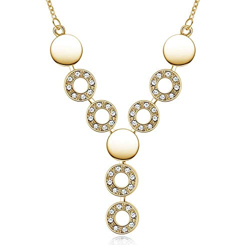 Your boy-HT Happiness Full Circle Crystal Necklace Exquisite and Simple, Stylish and Versatile -