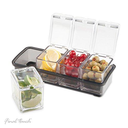 Final Touch Kochzutaten-Spender mit 4 Fächern, 5-teiliges Set mit 4 herausnehmbaren Behältern und einer rutschfesten Halterung für Cocktail-Zutaten, Kirschen, Oliven, Zitronen oder Limetten