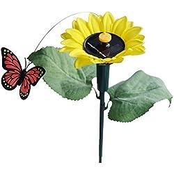 Solar Sonnenblume mit Schmetterling - SODIAL(R)1x Tanzend Solar/Batterie Sonnenblume mit Schmetterling auf Gartensteckern Garten Rasen Blumentopf Blumenbeet Deko Ornament Farbe Random