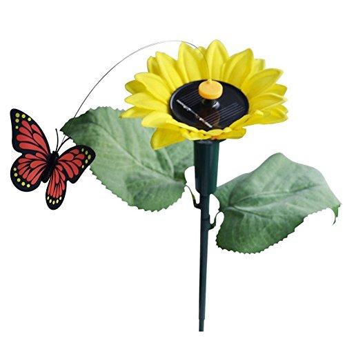 Preisvergleich Produktbild Solar Sonnenblume mit Schmetterling - SODIAL(R)1x Tanzend Solar / Batterie Sonnenblume mit Schmetterling auf Gartensteckern Garten Rasen Blumentopf Blumenbeet Deko Ornament Farbe Random