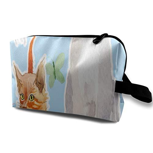 Reisemake-up-Taschen Wildtier Katze Kätzchen Schmetterling Reißverschlusstasche Coin Organizer Makeup Costmetic Bag Office Storage