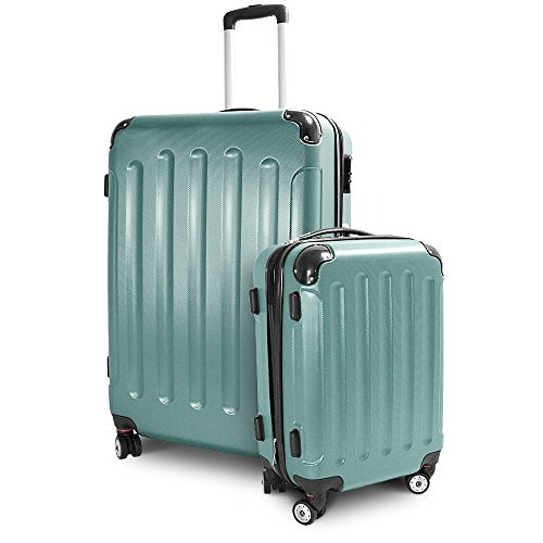 BERWIN Kofferset M + XL 2-teilig Reisekoffer Trolley Hartschalenkoffer ABS Teleskopgriff Modell Stripes (Lime Green)