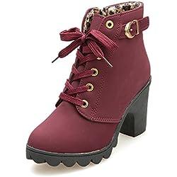 ❤️ Botas de tacón Alto para Mujer, Botines de Cordones de Moda con Cordones para Mujer Botas Mujer Invierno Nieve Impermeable Tacon Absolute