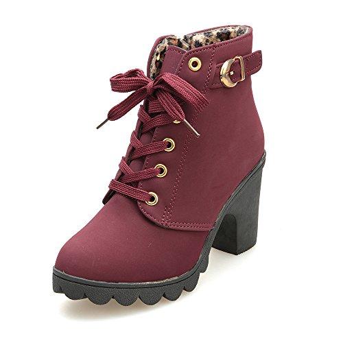 Stiefeletten Damen,Damen High Heels Boots Schnalle Plateau Stiefel Schuhe,Binggong Damen Stiefeletten -