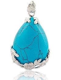 TOOGOO(R) Mujeres angel Lagrimas Agua Gota Semi-Preciosas Piedras Colgante - Azul Turquesa