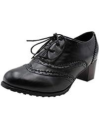 e76abd78b3 Uirend Zapatos para Mujer Botas - Damas Vintage Cordones Cuero Chunky Talón  del Bloque Oxfords Botines