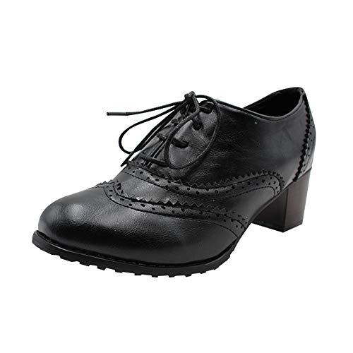 0091224e72c0f Uirend Zapatos para Mujer Botas - Damas Vintage Cordones Cuero Chunky Talón  del Bloque Oxfords Botines