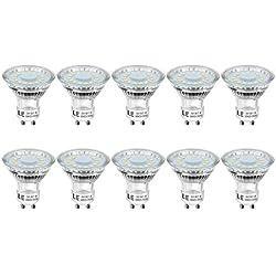 LE GU10 Ampoules LED, Spot LED 4W Équivaut à 50W Ampoule Halogène, Lumière du Jour 5000K 350lm, Ampoules LED 120° Larges Faisceaux, Lot de 10