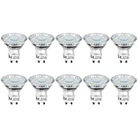 LE GU10 LED Bulbs, Daylight White 5000K, 50W Halogen Bulb Equivalent, 4W 350lm, 120° Wide Beam, Pack of 10
